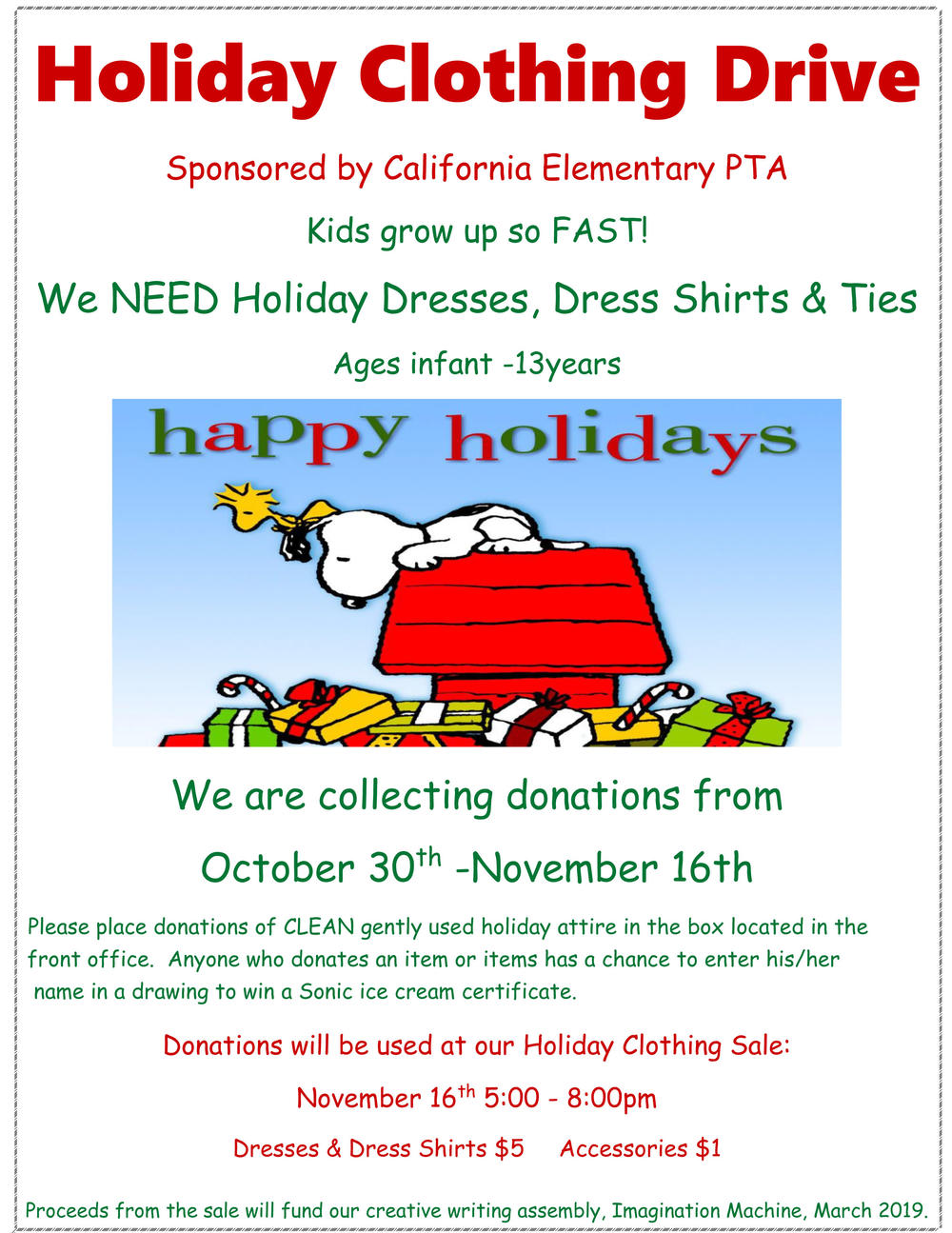 Holiday Clothing Drive flyer