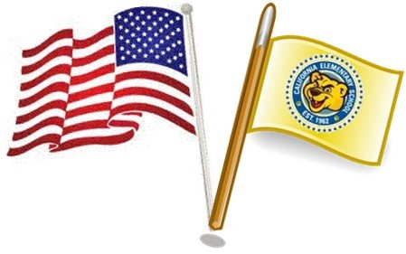 US Flag and Gold Flag with California School Logo