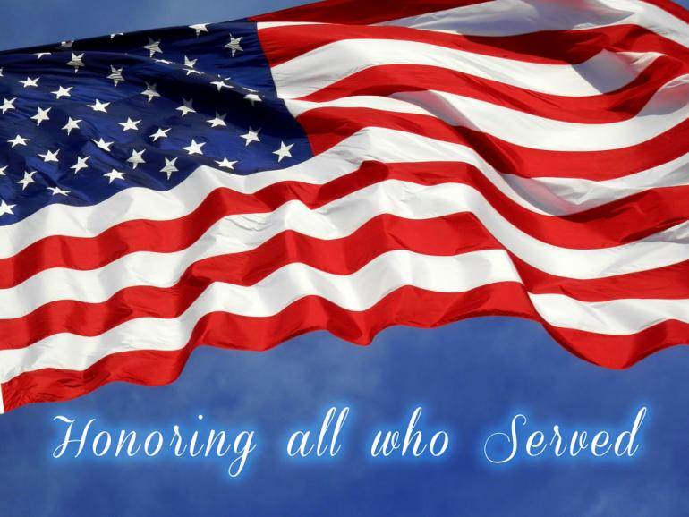 Honoring all who served with US flag