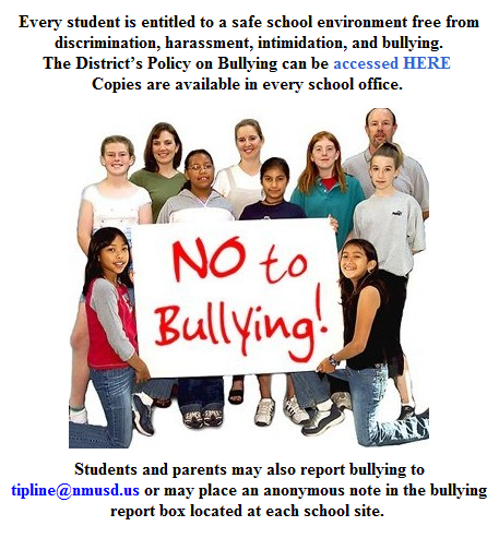 Students holding No to Bullying sign
